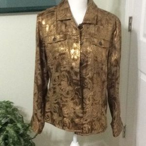 ❤️EUC Chico's gold on gold L/S front button jacket